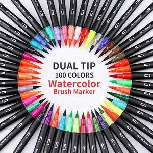 12/24/48/100PCS/Set Marker Pen Set Watercolor Pen Brush Markers Dual Tip Drawing For Art Markers Colors Pens