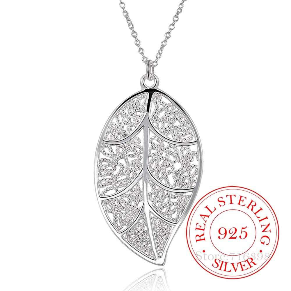 New Hollow Vintage Tree Leaves Statement Pendant Necklace For Women 925 Serling Silver Fine Jewelry Pendants Necklace Collier