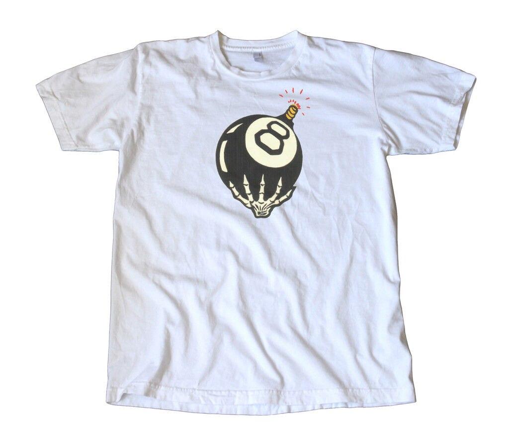 Camiseta Vintage de la etiqueta del esqueleto de la bola 8-Hot Rod, camiseta de moda del verano de Gasser men, Camiseta cómoda, camiseta de manga corta Casual