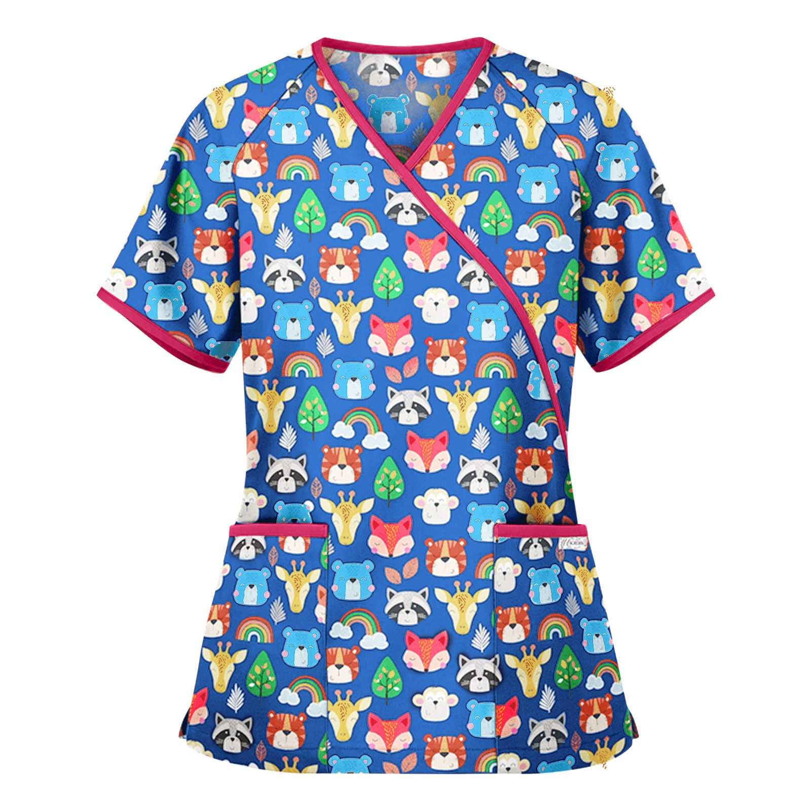 Women's Scrub Tops Medical SPA Uniforms Dentist Nurse Scrubs Summer Short Sleeve V-neck Carer Blouse Adjustable Waist Belts A20