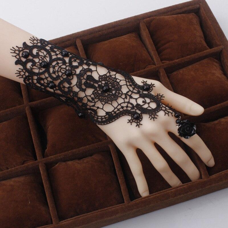 Juego de anillos y pulsera Retro con flores de encaje negro, accesorios para mujer, guantes negros para fiesta en casa, accesorios decorativos, blancos