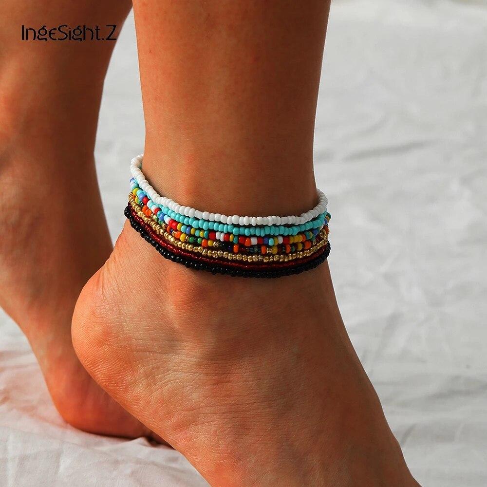 Браслеты-анклеты IngeSight.Z женские, регулируемые цветные ножные браслеты с бусинами радужной расцветки, ювелирные изделия для босых ног, 7 шт./компл.