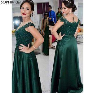 New Arrival Evening Dresses Scoop Appliques Satin Special Occation Celebrity Robe De Soiree Saudi Arabric Vestidos de Fiesta