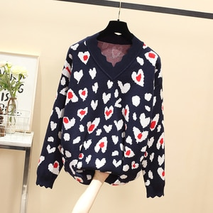 4XL women's v-neck fashion pullover loose knit top women