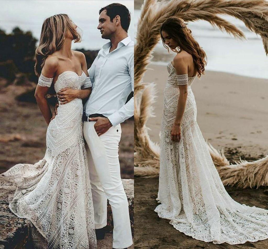 Vestidos bohemios De encaje De algodón para mujer, Vestidos De Novia De...