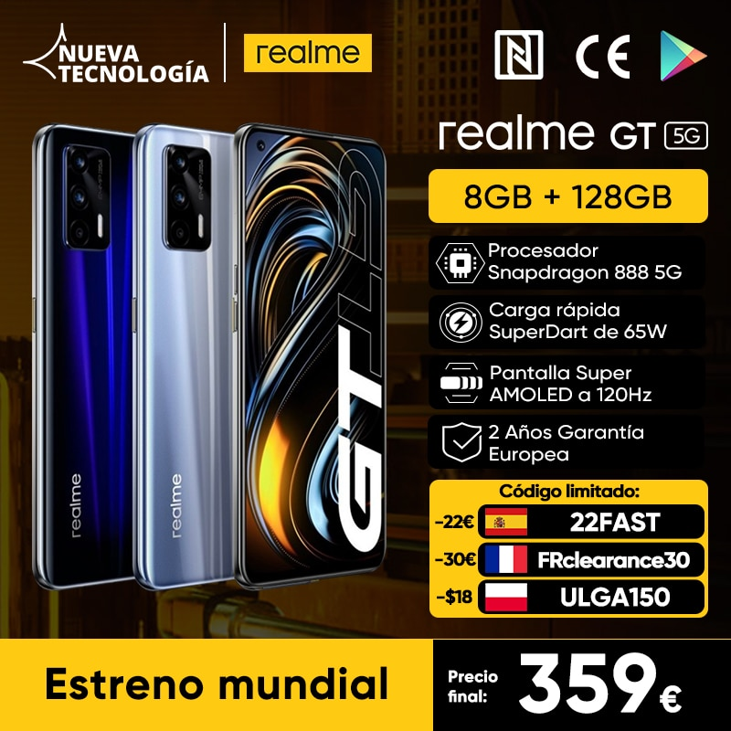 Prima mondiale-versione globale realme GT 5G 8GB 128GB Snapdragon 888 5G Smartphone 6.43 '' 120Hz AMOLED 65W DartCharge 64MP 4500mAh, -30€ Codice limitato: 618FAST30A