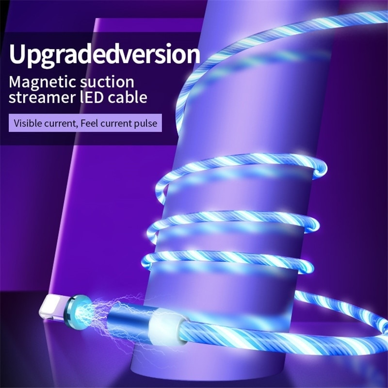 Flowing Light Magnetic Charging Mobile Phone Cable for iphone charger Wire for Samaung LED Micro USB Type C enlarge