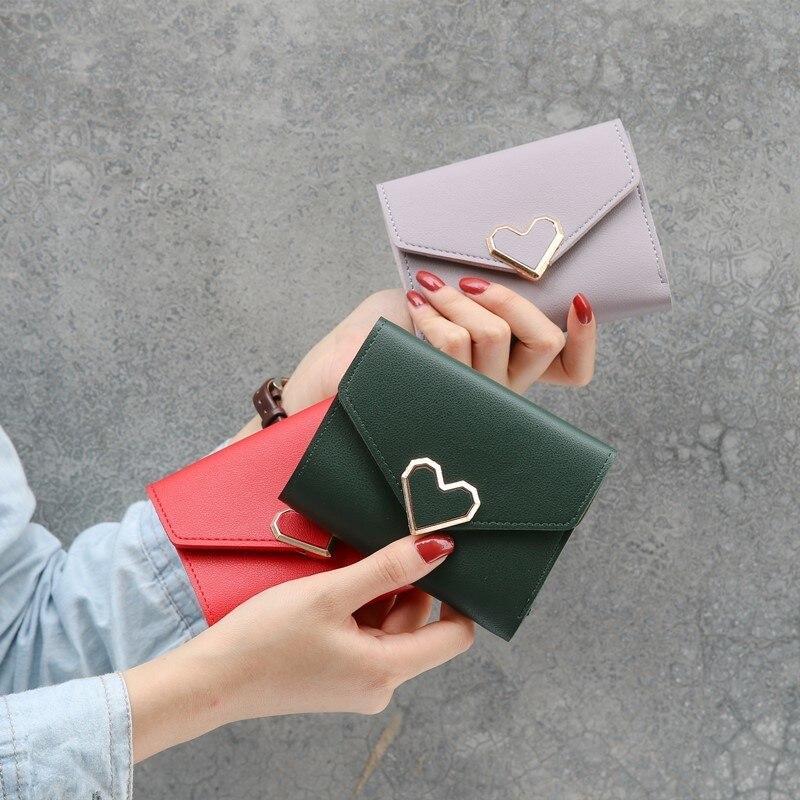 Titular do Cartão Novo Retro Luxo Senhoras Curto Coreano Grande-capacidade Bonito Moeda Bolsa Mini Pequeno Fresco Dobrável Carteira Feminina 2021