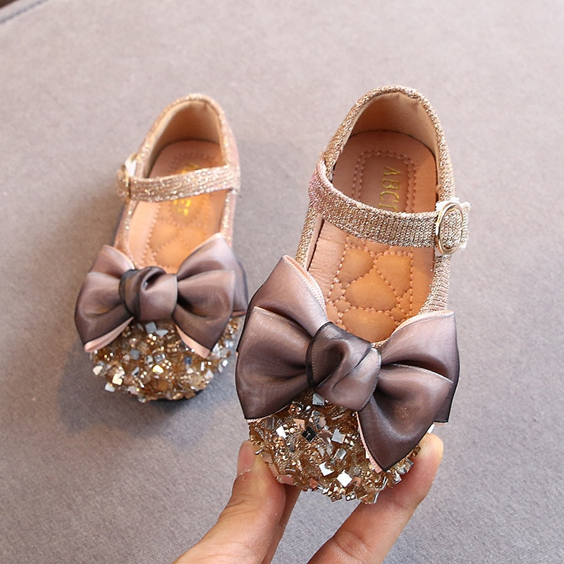 Princess Shoes New Sweet Girls Spring Autumn Fashion Toddler Children Flats Sequin Bow Shoes School