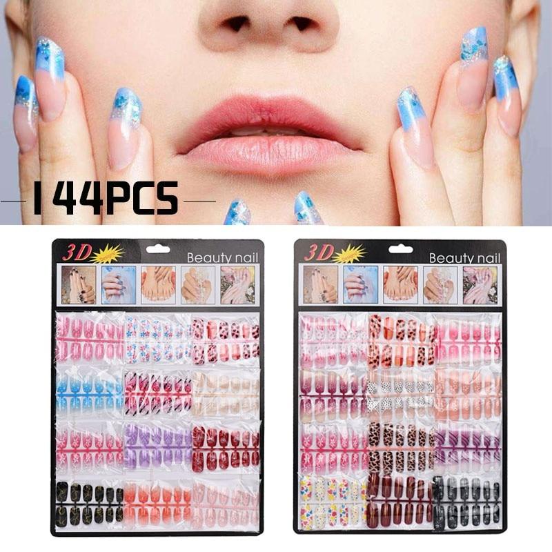 Set mixto de 144 Uds. De puntas de uñas falsas, arte de uñas artificiales falsas, formas de Gel de manicura acrílicas para extensión de manicura, Arte para uñas falsas