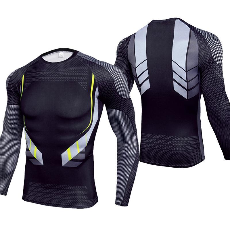 2019 nueva camiseta de compresión de Fitness para hombre, Camiseta ajustada de manga larga, de secado rápido Camiseta deportiva, camiseta de entrenamiento, camisetas