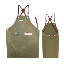 Utility Work Apron Canvas Apron Workshop Tool Apron with Adjustable Straps for Barber,Kitchen,Garden