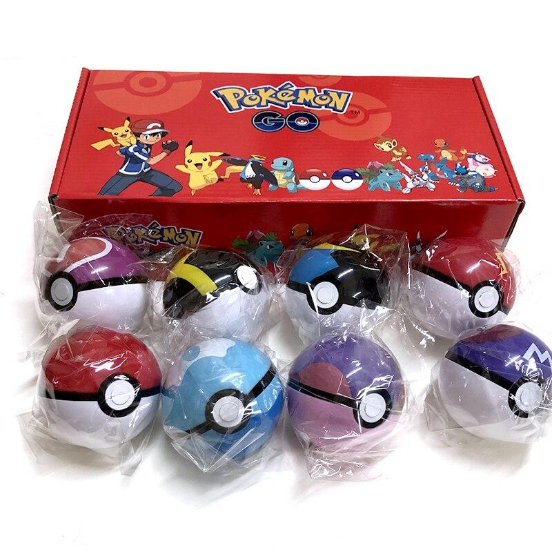 8Pcs/set Original box Pokemon Pokeball Set Pop-up Elf Ball Toys  TAKARA TOMY Original Pokemon Monster Elf Ball Pikachu Kid Gifts