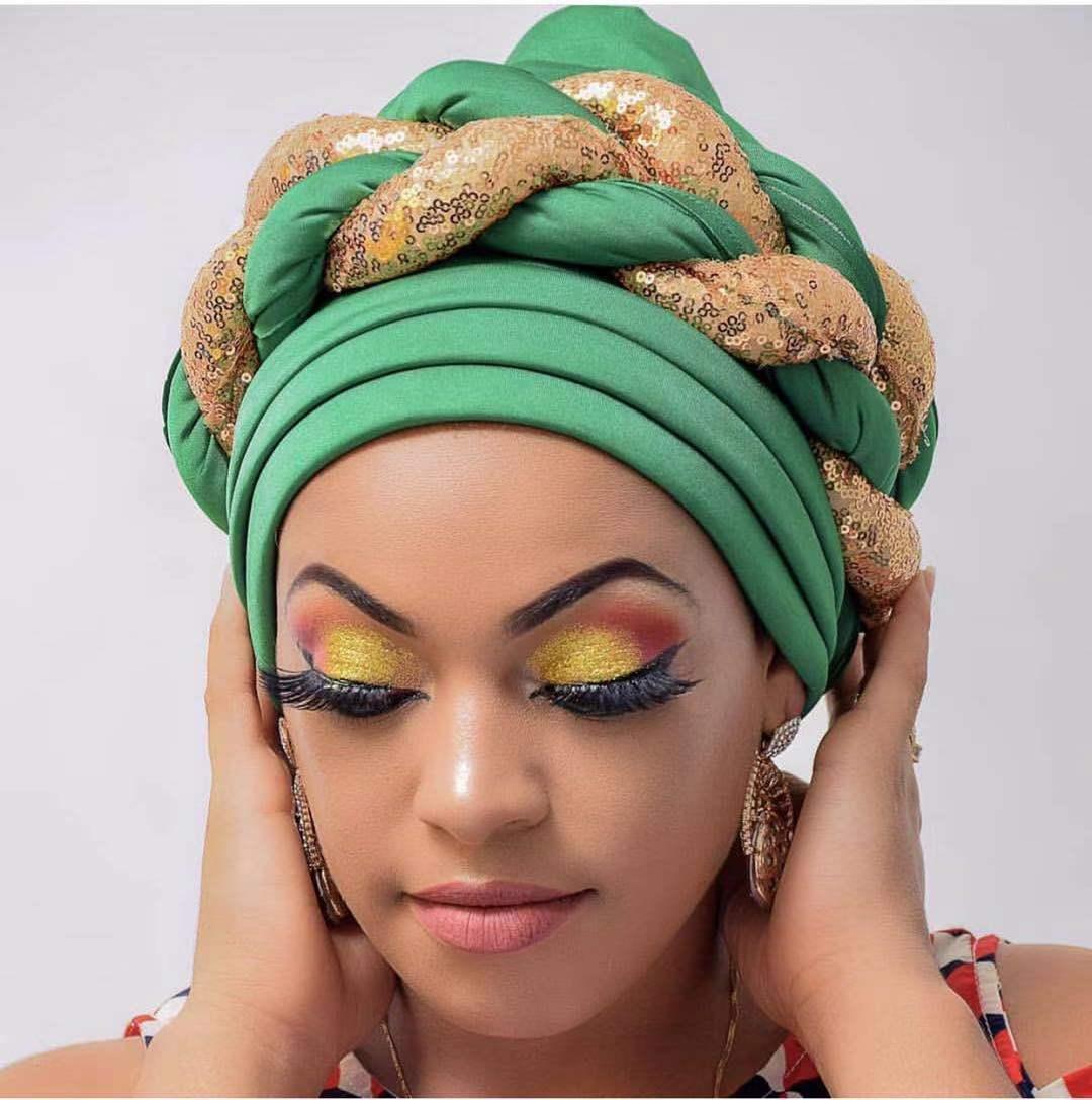 Новинка, тюрбан с блестками и блестками для женщин, готовая Женская головная повязка, Африканский автомобильный гелевый, Aso Oke головной убор,...