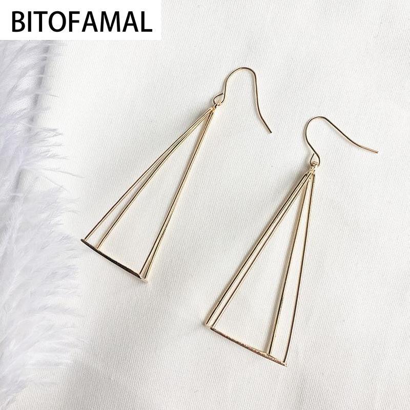 Pendientes largos de geometría triangular poligonal dddfi, de aleación de aluminio y tres colores a elegir, 1 par, a la moda