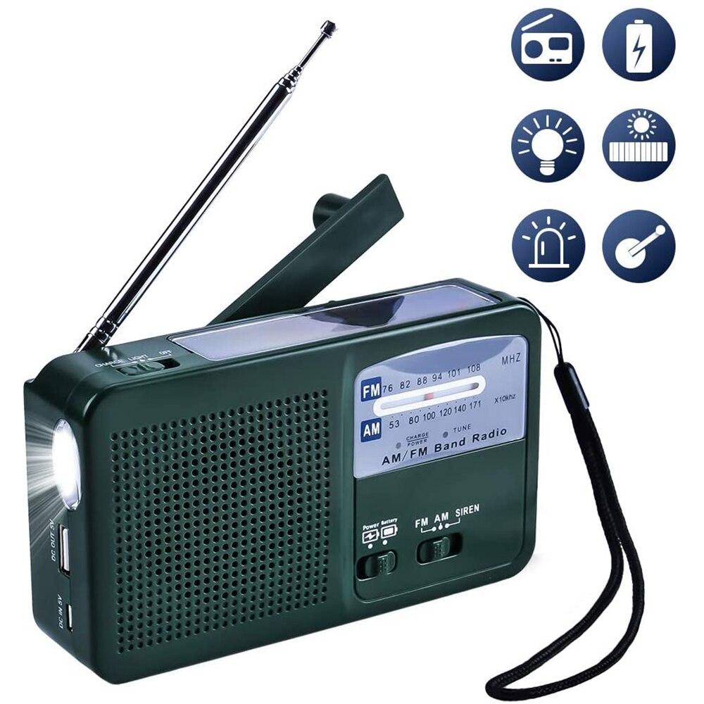 Rádio solar portátil am/fm rádio solar manivela dínamo com função sirene lanterna com banco de potência para atividades de viagem acampamento