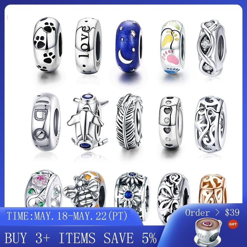 Venda quente 100% real 925 prata esterlina cz spacer rolha grânulo caber original pandora pulseiras para as mulheres diy jóias fazendo