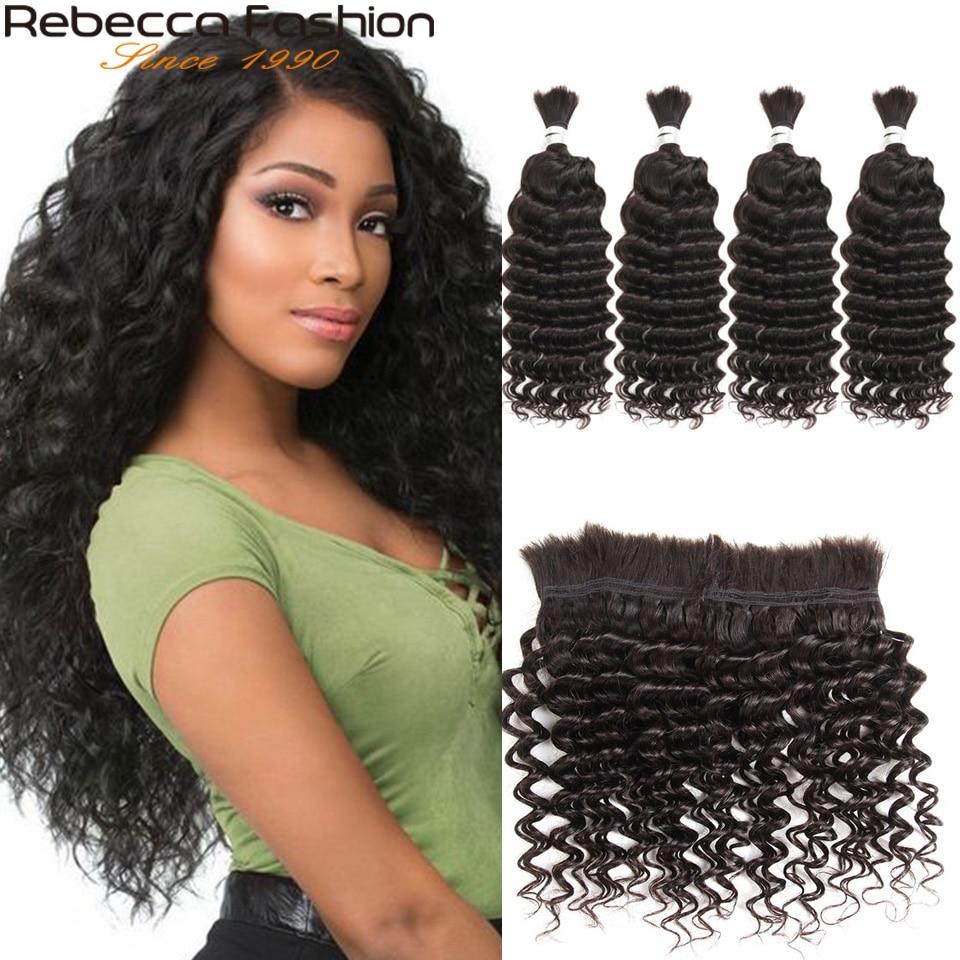 Rebecca малайзийские глубокие волнистые 4 шт. человеческие волосы для плетения оптом без уток 10 до 28 30 дюймов Реми объемные человеческие волосы ...