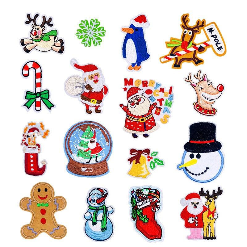 Parches de dibujos animados, 1 Uds., árbol de hojaldre, patrón de alces, apliques bordados, parches para DIY, pegatinas de bordado de Papá Noel, ropa de Navidad