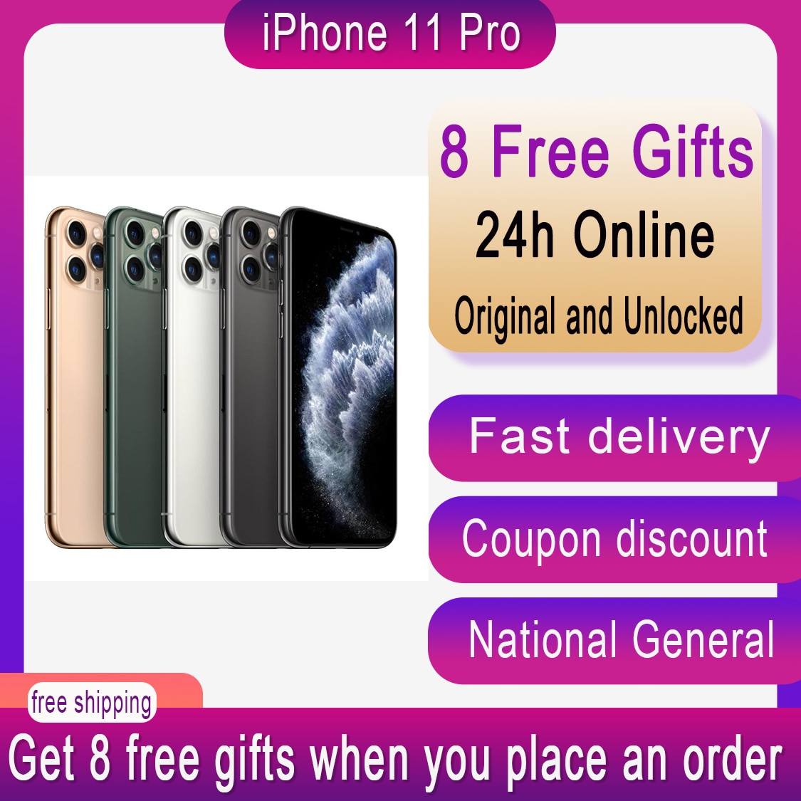 Original Used Unlocked iPhone 11 Pro Mobile Phone 5.8 inch CellPhone Triple Rear Camera AMOLED Display A13 Chipset Smart Phone enlarge