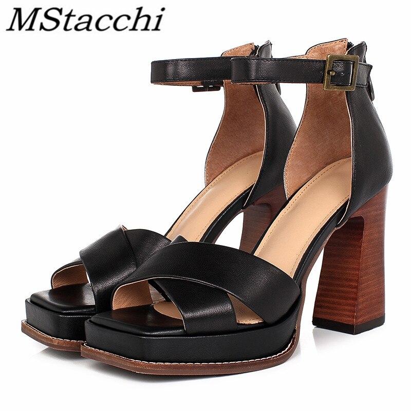 Mstafchi موضة النساء منصات صندل كعب عالٍ للنساء جلد طبيعي كعب سميك مضخات Mujer الكاحل مشبك الأحذية الإناث