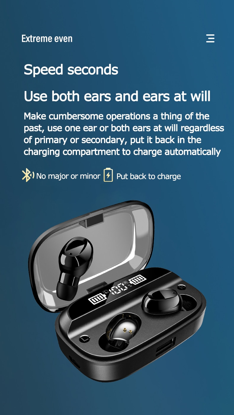 True TWS Bluetooth  Earphones 3000mAh Charging Box Wireless Headphone  Stereo Sports Waterproof Earbuds Headsets enlarge