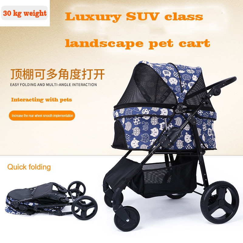 Pet Stroller Old Age A Disability Dog Cats Go Out Transportation Foldable wheelchair Wheelbarrow Small Medium-Sized 30kg Dogs