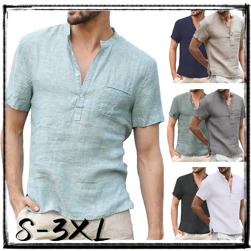 Рубашка мужская с воротником-стойкой, Модная хлопковая блуза с короткими рукавами, однотонная Повседневная приталенная кофта на пуговицах,...