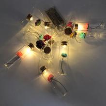LED en plastique souhait bouteille en laiton filament lampe chaîne maison décoration de noël cadeaux créatifs