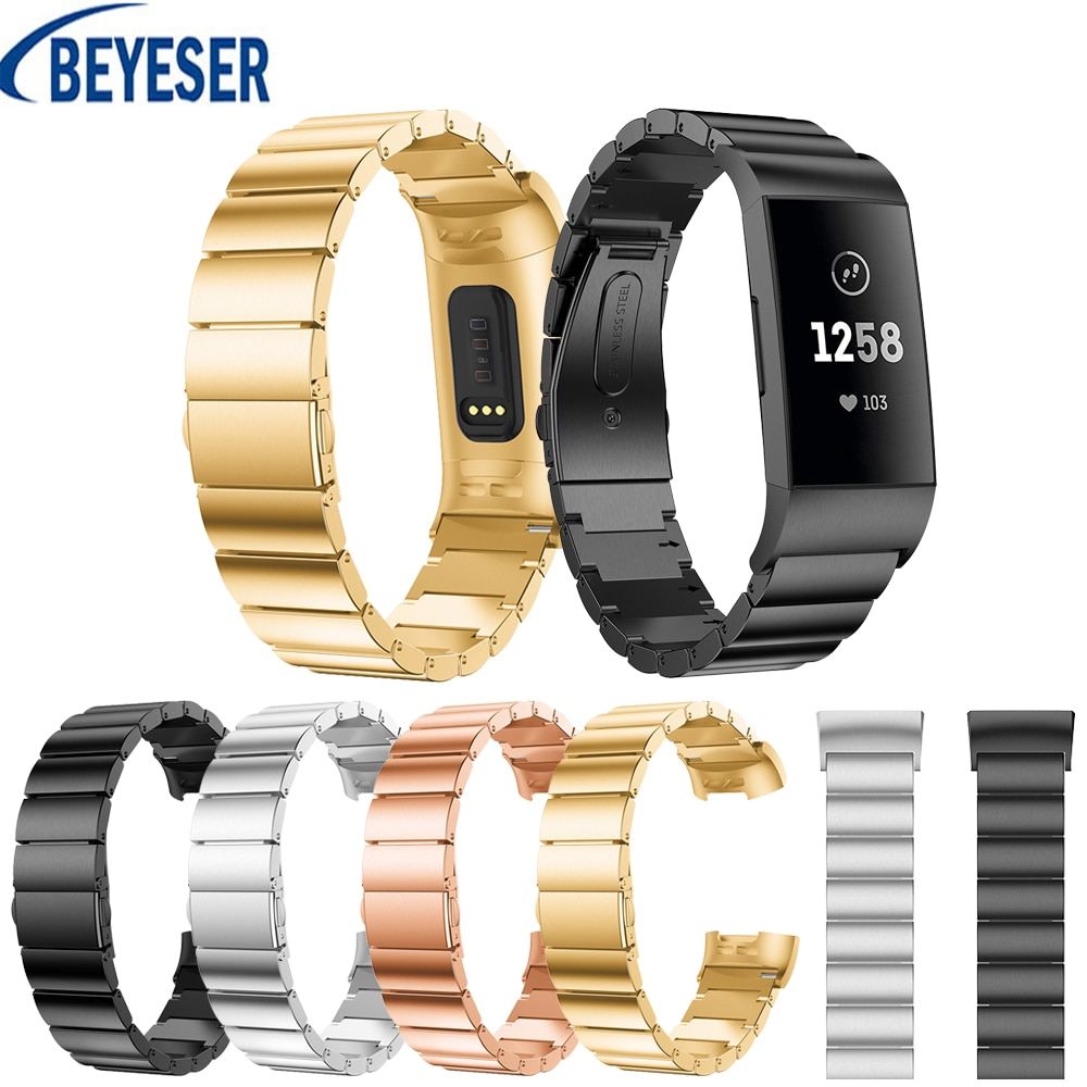 18mm Elegant Luxury Smart Stainless Steel Strap Watch Band Replacement For Fitbit Charge 3 Wristband Metal Bracelet Adjustable