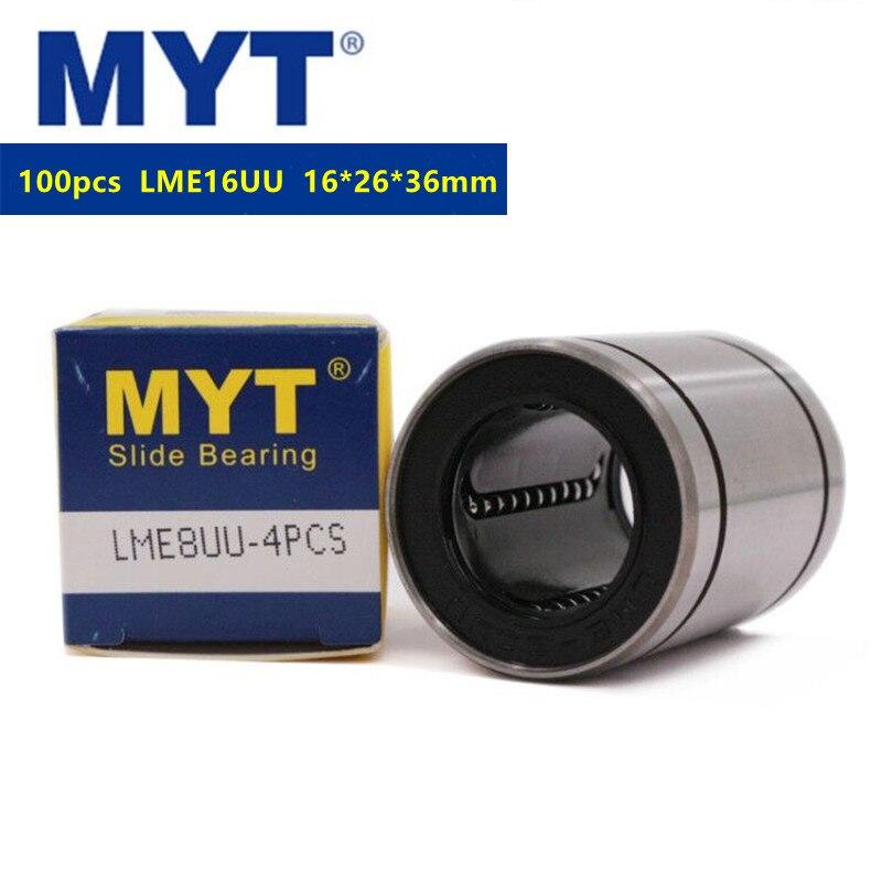100 قطعة MYT عالية الدقة LME16UU محامل الخطية الحركة جلبة LME16 ل نك الخطي قضيب رمح ثلاثية الأبعاد أجزاء الطابعة 16x26x36 مللي متر 16 مللي متر