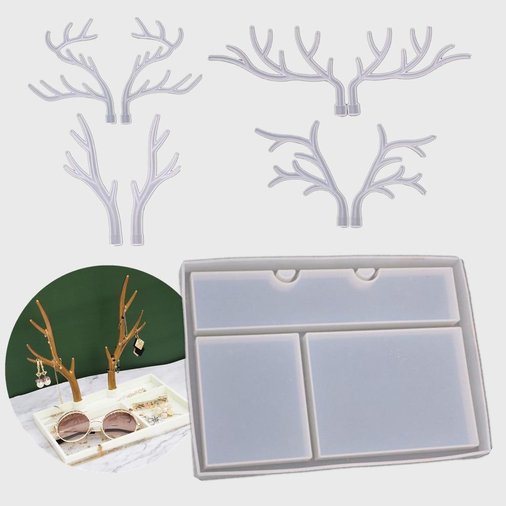 DIY Jewelry Display Rack Resin Mold Crystal Epoxy Silicone Big Antlers Tree Branch Jewelry Storage R