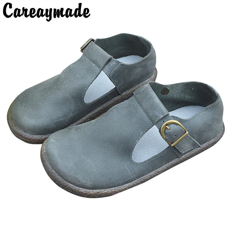 Careaymade-New Genuine leather Handmade cowhide single shoes Retro T-shaped shoes big toe shoes women's shoes flat bottom