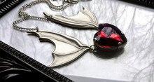 Yarasa kanat kolye ile kırmızı kalp, vampir yarasa kolye, hediye için yarasa sevgilisi, victoria gümüş kaplama yarasa kanat kolye, cadılar bayramı