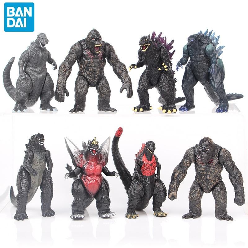 8pcs/set BANDAI 8cm Q New Godzilla Red Lotus Godzilla Kong Kim Battle Dinosaurs PVC Kids Gift Action Figure Collection Model Toy