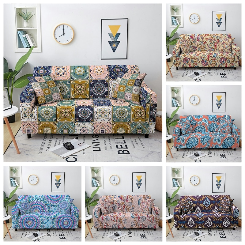 Эластичный чехол для дивана в богемном стиле с мандалой, современный чехол для дивана, эластичный чехол для дивана, чехол для мебели с защит... чехол