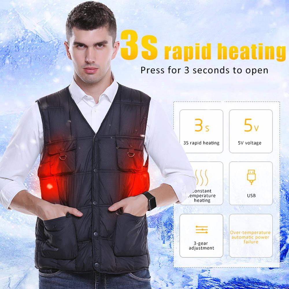 Intelligent heated vest pocket Solid Color Cotton heated Jacket Korean Version USB charging heating vest outdoor 열선조끼