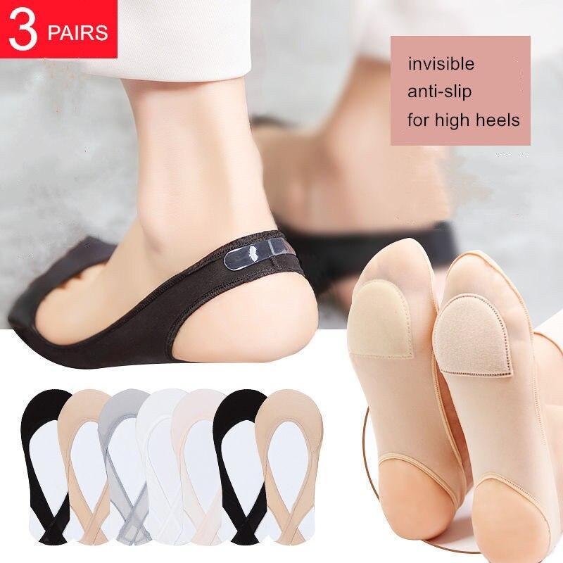 Носки невидимки женские летние силиконовые, Нескользящие туфли на высоком каблуке, тонкие полуподтяжки из вискозы, 3 пары Носки-следки      АлиЭкспресс