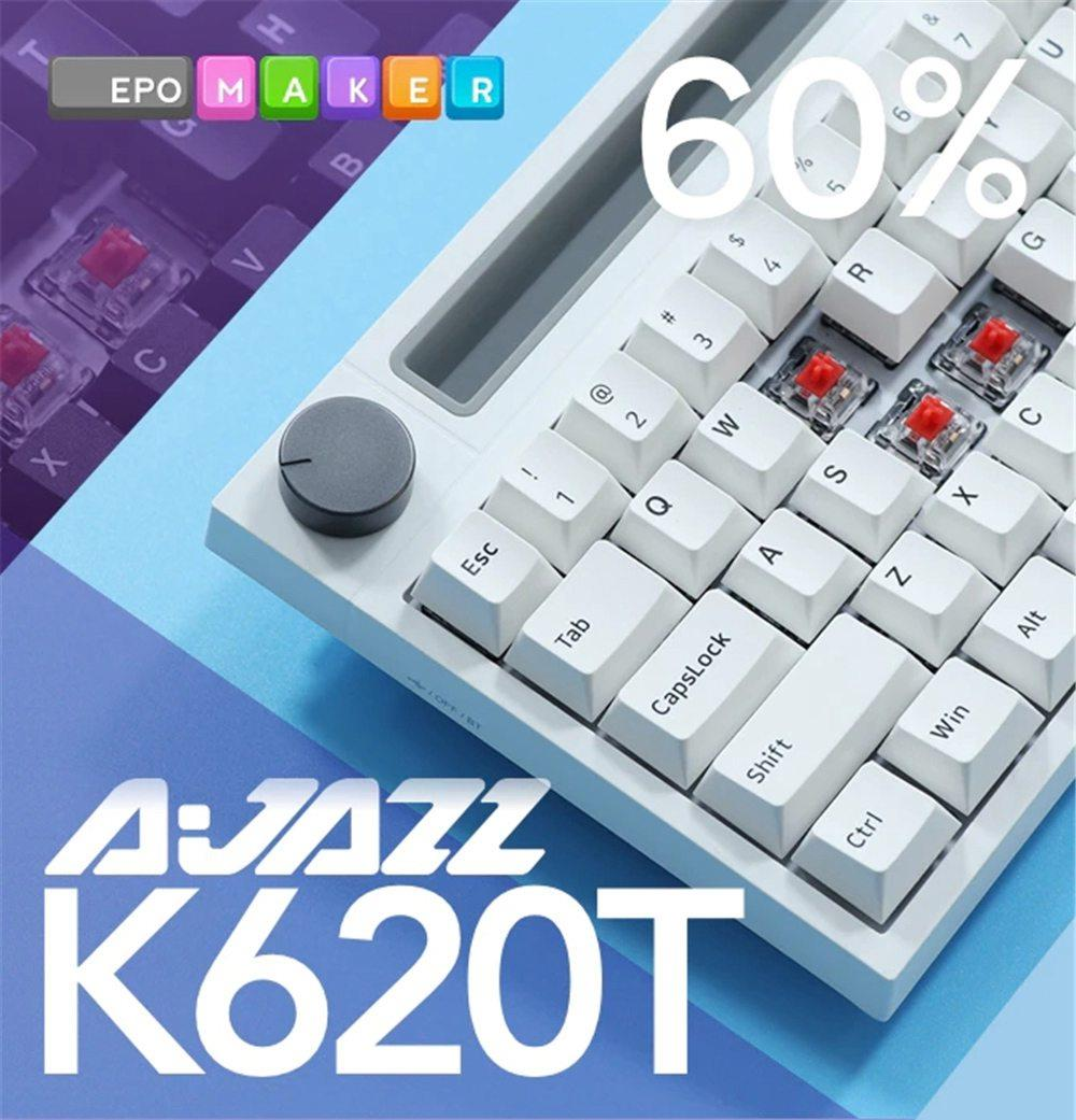 Ajazz K620T لوحة مفاتيح ميكانيكية سلكية/لاسلكية مزدوجة الوضع, تعمل بالبلوتوث للهواتف المحمولة ، سطح المكتب ، إضاءة خلفية RGB ، ويندوز 10
