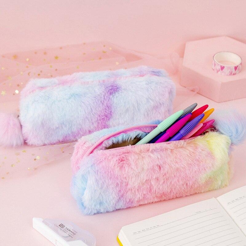 Kawaii Creative Pencil Case Gradient Color Cute Girl Plush Octagonal Pen Bag Student Simple Storage Stationery