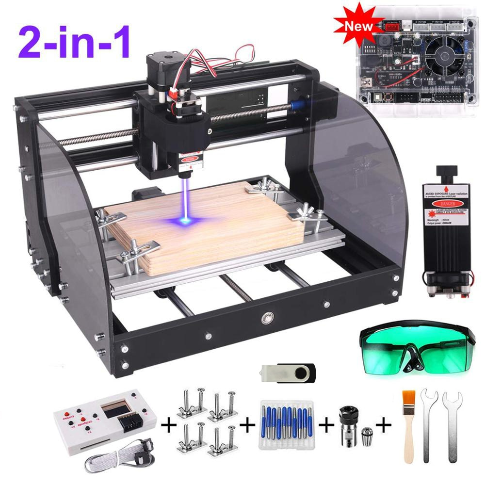 Grabador láser GRBL DIY 3 ejes PCB fresado láser máquina de grabado enrutador de madera actualizado