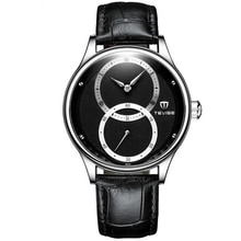 TEVISE Casual Style Automatic Mechanical Watch 24 Hours Display Genuine Leather Band Waterproof Men