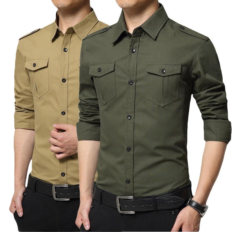 Мужская хлопковая рубашка с длинными рукавами, повседневная приталенная рубашка с карманами, в стиле милитари, Новое поступление 2020