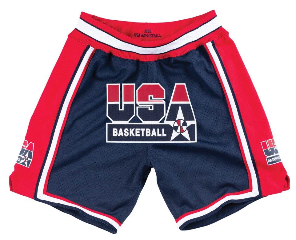 Pantalones cortos para hombre, pantalones cortos de baloncesto de edición con bolsillos para equipo de ensueño americano