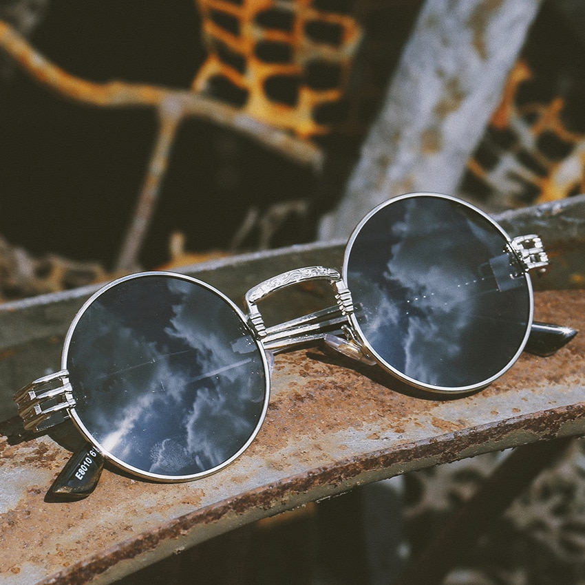Gafas de sol polarizadas redondas clásicas Steampunk para hombre, gafas de sol masculinas con diseño de marca, gafas de sol para pescar y conducir para hombre