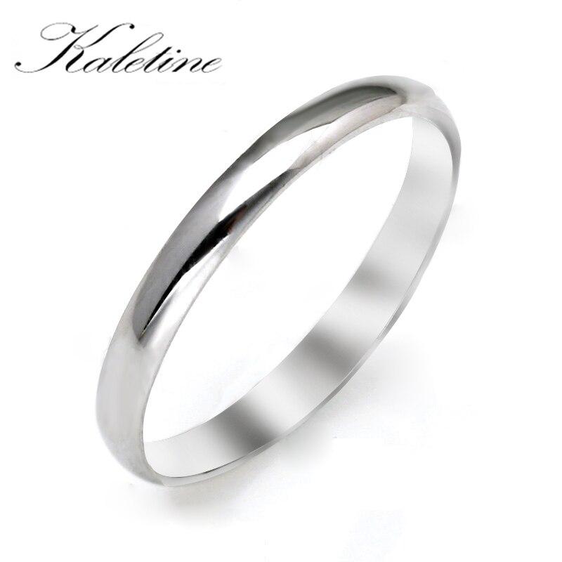 KALETINE Genuine 925 Sterling Silver Rings For Women Sleek Dome Top Band Mens Ring Plain Wedding Rings Jewelry Anniversary