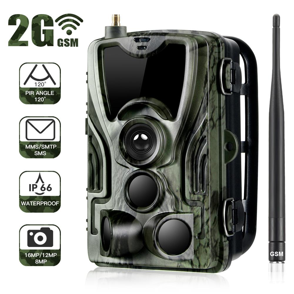 купить HC-801M 2G MMS/SMTP/SMS Trail camera Hunting camera 940nm IR LED photo traps 16mp 1080p HD night vision scout animal camera в интернет-магазине