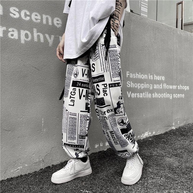 HOUZHOU – pantalon large pour hommes, jambes larges, ample, décontracté, avec imprimé coréen, Streetwear Hip Hop rétro Vintage, été, 5XL