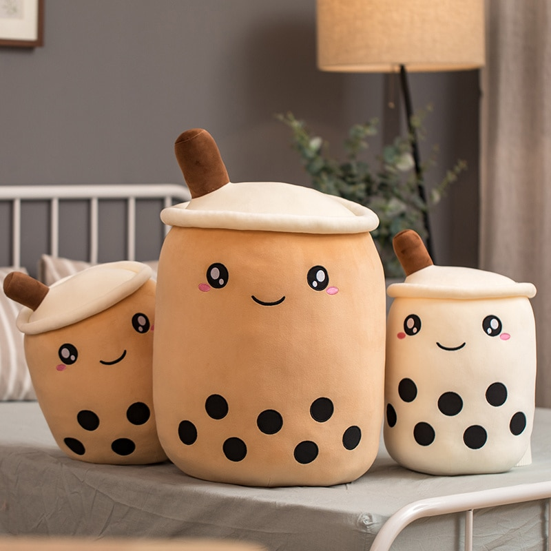 cute soft cartoon bubble tea cup plush toys filled with fashionable drinks pillow straw cute cushion milk tea cup pillow plush Boba Tea Cup Plush Toys Bubble Milk Tea Stuffed Pillow Popping Food Straws Soft Kawaii Room Decor Birthday Gifts For Boys Girls