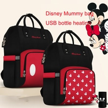 Disney Diaper Bag Backpack Insulation Bags USB Bottle Minnie Mickey Big Capacity Travel Oxford Feeding Baby Care Mummy Nappy Bag